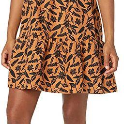 Goodthreads Women's Washed Linen Elbow Sleeve Split Neck Tiered Dress | Amazon (US)