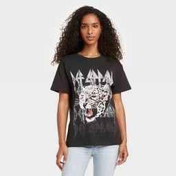 Women's Def Leppard Animal Print Short Sleeve Graphic T-Shirt - Black   Target