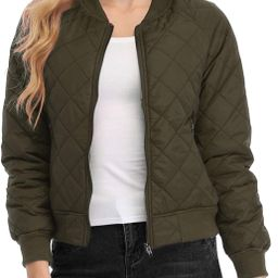 andy & natalie Women's Quilted Jacket Long Sleeve Zip up Raglan Bomber Jacket with Pockets   Amazon (US)