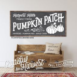 Personalized Pumpkin Patch Sign Fall Decor Wood Hand Painted Chalkboard Art  -- Vintage Modern Fa... | Etsy (US)