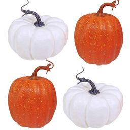 4 Pcs Artificial Pumpkins Rustic Faux Pumpkin White and Orange Pumpkins for Fall Decor Autumn Decor  | Walmart (US)