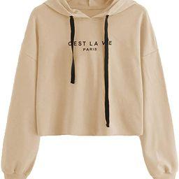 SweatyRocks Women's Letter Print Casual Long Sleeve Crop Top Sweatshirt Hoodies   Amazon (US)