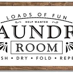Laundry Signs for Home Decor Loads of Fun Laundry Room Wooden Sign | Amazon (US)