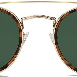 SOJOS Retro Round Polarized Sunglasses UV400 Double Bridge Sun Glasses SUNSET SJ1104 | Amazon (US)