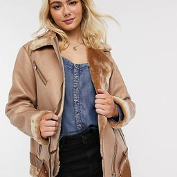 Pieces aviator jacket in tan   ASOS (Global)