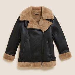 Faux Shearling Aviator Jacket   Marks and Spencer US