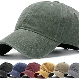 HH HOFNEN Men Women Washed Distressed Twill Cotton Baseball Cap Vintage Adjustable Dad Hat   Amazon (US)
