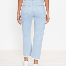 Curvy Distressed Hem High Rise Straight Crop Jeans in Bleach Out Wash   LOFT