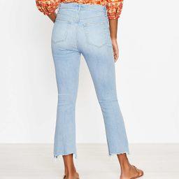 Curvy Chewed Hem High Rise Kick Crop Jeans in Light Wash   LOFT