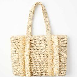 Fringed Straw Tote Bag   LOFT