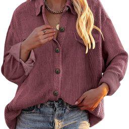 Dokotoo Womens Corduroy Long Sleeve Button Down Shirts Casual Jacket Tops Shacket   Amazon (US)