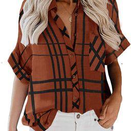 ZC&GF Women's Long Sleeve V-Neck Stripes Casual Blouses Pocket Button Down Shirt Tops   Amazon (US)