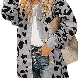 ZESICA Women's Long Sleeves Open Front Leopard Print Knitted Sweater Cardigan Coat Outwear with P...   Amazon (US)