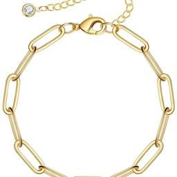 IEFSHINY Gold Paperclip Link Chain Necklace Bracelet Anklet, 14K Gold Plated Dainty Oval Link Cha... | Amazon (US)
