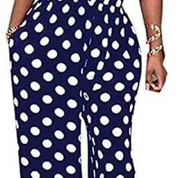 LKOUS Women Summer Elegant Spaghetti Strap Sleeveless Polka Dot Print One-Piece Loose Wide Leg Pa... | Amazon (US)