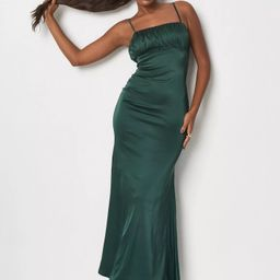 Petite Green Satin Ruched Bust Strappy Maxi Dress   Missguided (US & CA)