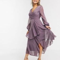ASOS DESIGN wrap waist midi dress with double layer skirt and long sleeve in mauve   ASOS (Global)