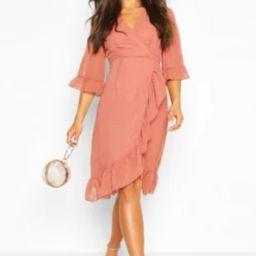 Dobby Chiffon Wide Sleeve Midi Wrap Dress   Boohoo.com (US & CA)