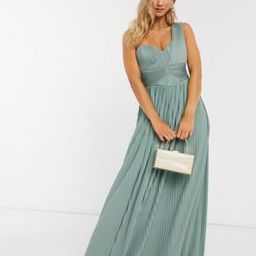 ASOS DESIGN Premium one shoulder pleated panel maxi dress in spearmint   ASOS (Global)