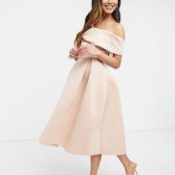ASOS DESIGN fallen shoulder prom midi dress in rosedust   ASOS (Global)