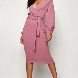 Tall Off The Shoulder Wrap Midi Bodycon Dress   Boohoo.com (US & CA)