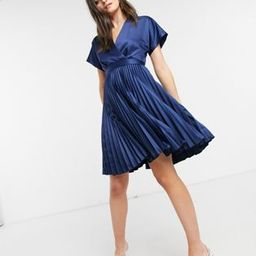 Closet London wrap front pleated midi skater dress in navy   ASOS (Global)