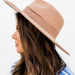 Looking For A Message Tan Wide Brim Fedora Hat | The Pink Lily Boutique