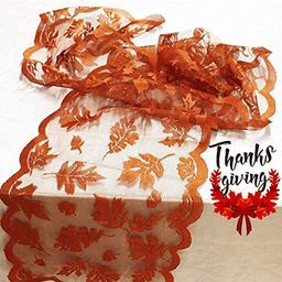 Fall Table Runner Thanksgiving Decorations 13 x 72 Inch Maple Leaves Table Runner Harvest Lace Pu... | Amazon (US)