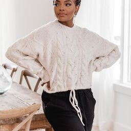 Miss You More White Cable Knit Sweater | The Pink Lily Boutique