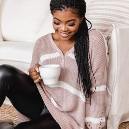 My Best Guess Taupe Striped Henley Sweater | The Pink Lily Boutique