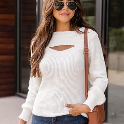 Forgettable Night White Cutout Crewneck Sweater | The Pink Lily Boutique