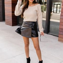 Rely On You Black Wrap Leather Skort | The Pink Lily Boutique