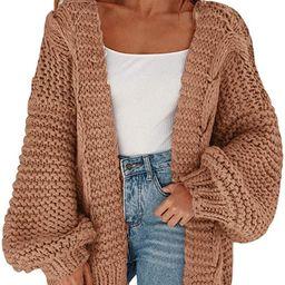 MEROKEETY Womens Open Front Cardigans Long Sleeve OversizedChunky Cable Knit Sweater Outwear Co... | Amazon (US)
