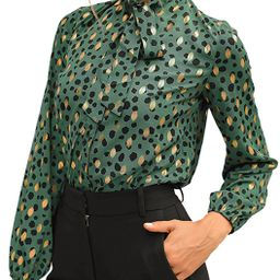 ECOWISH Womens Casual Tops V Neck Leopard Tunic Long Sleeve Button Down Shirts Top | Amazon (US)