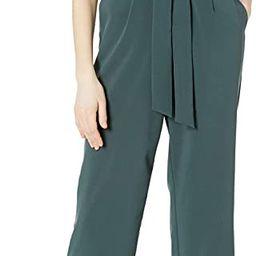 Lark & Ro Women's Puff Sleeve Split Neck Belted Crop Length Jumpsuit | Amazon (US)