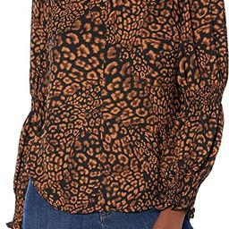 Amazon Brand - Lark & Ro Women's Georgette Long Sleeve Ruffle Crew Neck Top with Smocked Detail | Amazon (US)