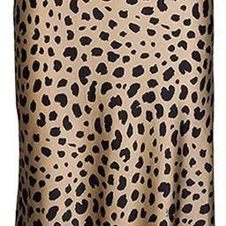 Modegal Women's Satin High Waist Ruffle Hidden Elasticized Waistband Casual A Line Midi Skirt | Amazon (US)