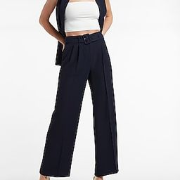High Waisted Twill Belted Straight Ankle Pants | Express