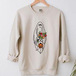 Halloween Ghost Shirt, Halloween Party Shirt, Floral Ghost Shirt, Autumn Shirt, Trick or Treat Sh... | Etsy (US)