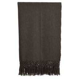 Orlando Woven Cotton Throw w/ Crochet & Fringe - Black   THELIFESTYLEDCO