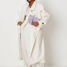 Cream Quilt Lining Detail Belted Trench Coat   Missguided (UK & IE)