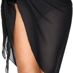 milkfeel Short Sarong Wraps Beach Swimsuit Cover Ups for Women Bathing Suit Bikini Wrap Coverups Bla | Amazon (US)