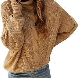 BMJL Women's Turtleneck Sweater Oversized Batwing Long Sleeve Pullover Fall Casual Loose Chunky K...   Amazon (US)