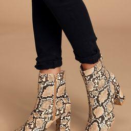My Generation Tan Snake High Heel Mid-Calf Boots   Lulus (US)