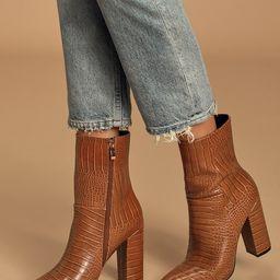 Dawson Tan Crocodile Pointed-Toe Mid Calf Boots   Lulus (US)