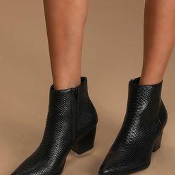 Spirit Black Snake Pointed Toe Ankle Booties   Lulus (US)