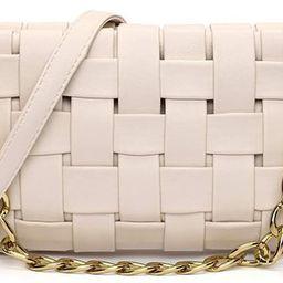 Women Woven Crossbody Evening Small Handbag Braided Shoulder Bag Weave Purse with Chain Messenger... | Amazon (US)