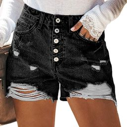 Sidefeel Women Vintage Denim High Waist Rolled Hem Jeans Shorts | Amazon (US)
