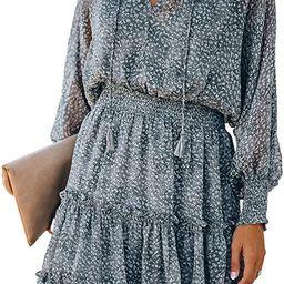 Sidefeel Womens V Neck Sleeveless Ruffle Mini Short Skirt Dresses   Amazon (US)