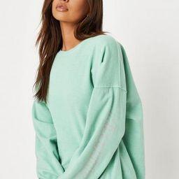Green Washed Missguided Sleeve Print Fleeceback Oversized Sweatshirt   Missguided (UK & IE)